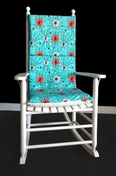 Turquoise Circle Pattern Retro Rocking Chair Cushion Cover | affordable, designer, custom, handmade, trendy, fashionable, locally made, high quality Ikea Kids Room, Rocking Chair Cushions, Chair Cushion Covers, Kids Room Organization, Kids Room Design, Circle Pattern, Slipcovers For Chairs, Outdoor Chairs, Turquoise