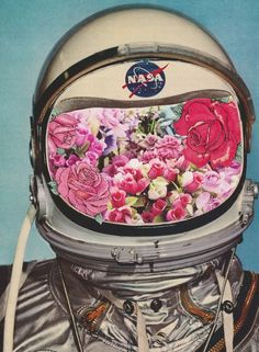 Collage Art I like that the picture of flower print is used inside the mask of the astronaut. It looks like a collage and has very many details to it. Psychedelic Art, Art Design, Graphic Design, Interior Design, Eugenia Loli, Psy Art, Photocollage, Alphonse Mucha, Arte Pop