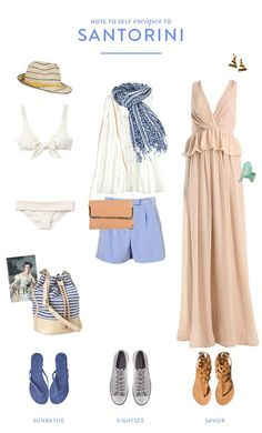 Guest Post: Escape to Santorini - pack for where? guest post: escape to santorini Santorini look, designed by Note to Self, on :: Dreams + Jeans :: Travel Wardrobe, Capsule Wardrobe, Vacation Outfits, Summer Outfits, Travel Outfits, Greece Vacation, Greece Trip, Greece Travel, Greece Honeymoon