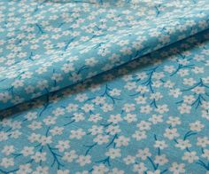 vintage feedsack fabric  BLOSSOMS on BLUE by NauvooQuiltCo on Etsy, $4.25