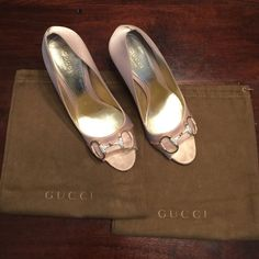 GUCCI rhinestone pumps satin champagne colored pumps with rhinestone horsebit detail at toe. signs of wear shown in pictures as well as the heels. absolutely stunning shoe!! 4 inch heel dust bag for each shoe included Gucci Shoes Heels