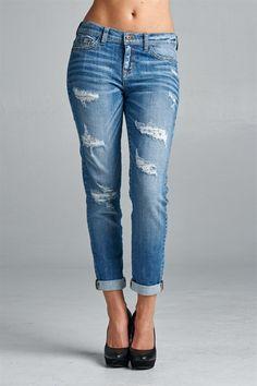 Light Wash Boyfriend Distressed Jeans
