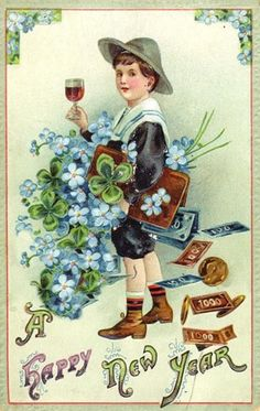 free-vintage-new-year-cards-boy-with-wine-four-leaf-clovers-money-blue-flowers.jpg