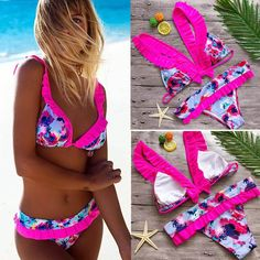 f523c684f39c8 Womens Sexy Swimwear Push Up Print Bow Bikini Set Bain Femme Beachwear  Swimsuit