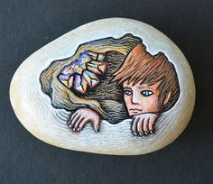 Hand Painted Rock by Poxodd. Crystal Node in a Cave. by poxodd