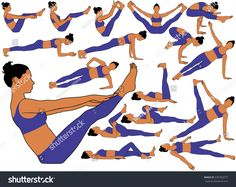 Set of vector silhouettes of girl with colored skin tone in costume doing yoga stretching, relaxing body and balancing. Icons of slim woman in different yoga poses isolated on white background. Girl Silhouette, How To Do Yoga, Skin Tone, Stretching, Yoga Poses, Silhouettes, Royalty Free Stock Photos, Icons, Slim