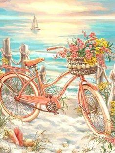 Cross Paintings, Small Paintings, Bicycle Pictures, Bicycle Art, Bicycle Painting, Cross Stitch Art, Am Meer, 5d Diamond Painting, Diy Frame