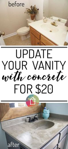 DIY vanity update using a concrete overlay without spending much money. I can't wait to try this! diy home improvement DIY Vanity Makeover using Concrete Overlay! Diy Vanity, Vanity Ideas, Vanity Basin, Custom Vanity, Home Remodeling Diy, Home Renovation, Bathroom Renovations, Cheap Remodeling Ideas, Cheap Renovations