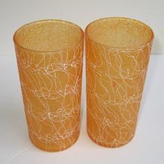 ColorCraft Spaghetti String Shat-R-Pruf Orange Tumblers Mid Century Glass Vintage