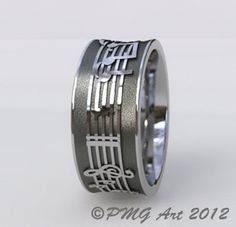 Music Notes Wedding Band Cobalt Chromium Customized with by pmgart. $355.00, via Etsy.