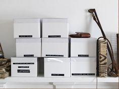 storage boxes with label tape