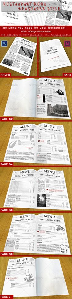 Restaurant Menu - Newspaper Style #GraphicRiver This Food Menu is not like every other. Inspired by Newspaper Design we create this template with a lot of little extras like quotes and articles. A Front, Back and 8 Page Templates are included. Images are not included, they are just for demonstration purposes. But all the Icons are included as Vector Shapes, so you can resize them. File Description: 300 DPI CMYK PSD CMYK InDesign A4 – 21cm x 29,7cm – 3mm Bleed and 3mm Safety Zone Fully…
