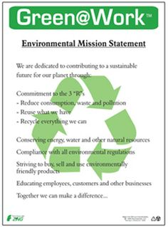 """Green at Work Poster, Mission Statement, 22"""" x 16"""""""