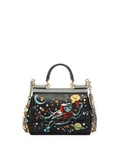 DOLCE & GABBANA Sicily Small Robot Satchel Bag, Navy. #dolcegabbana #bags #shoulder bags #hand bags #leather #satchel #lining #