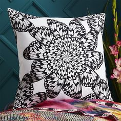 """butterfly wheel black and white 20"""" pillow with down-alternative insert"""