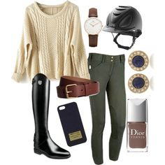 """Green, brown, and touch of navy"" by fionaaa98 on Polyvore"