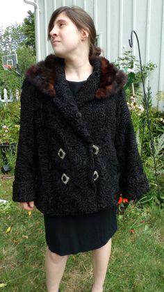 vintage 40s  fur sale black curly  lamb fur by 3GenerationCuration