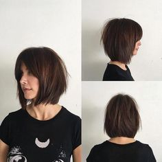 Women's Rich Brunette Soft Layered Bob with Curtain Bangs and Undone Straight Texture Medium Length Hairstyle Rich Brunette Soft Layered Bob with Curtain Bangs and Undone Straight Texture Medium Length Hairstyle<br> Bob Haircut With Bangs, Short Hair With Bangs, Short Hair Cuts, Medium Bob With Bangs, Soft Bangs, Bob With Fringe Bangs, Long Bob With Fringe, Blunt Bob With Bangs, Bob Fringe