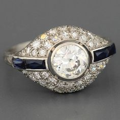 EGL Certified Antique Art Deco Platinum Old Round Cut Diamond Engagement Ring #SolitairewithAccents
