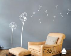 "Dandelion Wall Decal - Dandelion Wall Sticker - Dandelions in the Wind Decal - Large: approx 67"" x 95"" ( whole composition). $35.00, via Etsy."