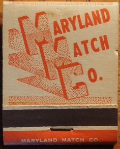 Maryland Match Co. front-strike #matchbook To order your business' own branded #matchbooks call 800.605.7331 or go to: www.GetMatches.com.