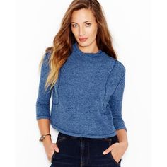 Free People Cropped Mock Turtleneck Sweater ($30) ❤ liked on Polyvore featuring tops, sweaters, sapphire, free people tops, blue cropped sweater, turtle neck crop top, mock sweater and turtleneck crop top