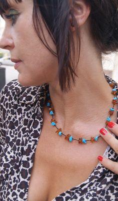 "Collar de ambar baltico ""Brandy i turquesa"" peso 11,5gr. (largo 49cm) piedra aprox. 0,6-1,3cm ----------------------------------------------------  Baltic amber necklace ""Brandy i turquoise"" Weight 11.5 gr. (49cm long) stone approx. 0.6-1.3 cm  http://ambarico.com/collar-de-ambar-20.html"