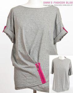 DIY Clothes Refashion: DIY T-Shirt Drapery with a Zipper DIY diy t-shirt diy fashion diy refashion diy clothes diy ideas diy crafts diy shirt diy top Clothes Refashion, Shirt Refashion, T Shirt Diy, Diy Clothing, Sewing Clothes, Clothing Blogs, Upcycling T Shirts, Recycled T Shirts, Old T Shirts