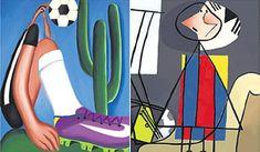 Neymar e Messi estilizados em quadros de Tarsila do Amaral e Picasso. Arte: Greg/Diario de Pernambuco