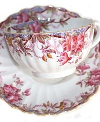 Vintage Spode Irene Pink Floral Bone China Teacup-antique,pink,garland, blue,yellow,flowers, lustre,hand painted,