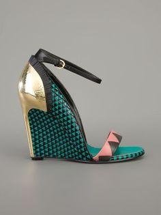 Sergio Rossi Multicoloured Wedge Sandal - Stefania Mode - farfetch.com #sergiorossisandals