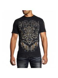 Men's T-Shirt Affliction Abrasive Line Chrome