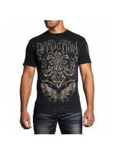 Men's T-Shirt Affliction Abrasive Line Chrome