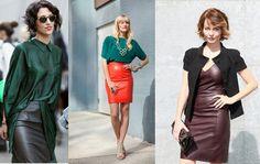 #Moda #Tendencias #outfits #Cuero #Chaqueta #Falda