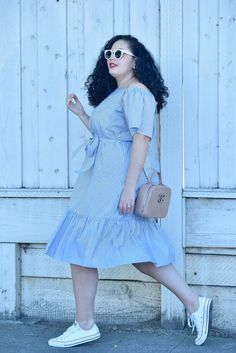 How to Wear Sneakers with a Dress via @GirlWIthCurves