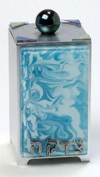 Sky Blue Glass Marbled Tzedakah Box
