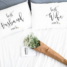 Wedding Bridal Shower Newlyweds gifts 2nd cotton anniversary for her him Pillowcases for him her his husband wife men couple pillow case men (Set of 2)  Very romantic, funny and interesting gift for best ever husband or wife. Will decorate every bedroom and make it sweet, romantic and comfy with a little bit of fun! Great idea to say I Love You or to say what do you think :) If you search gift for 1st or 2nd year cotton anniversary for your husband, wife, her or his, or just for beloved men…
