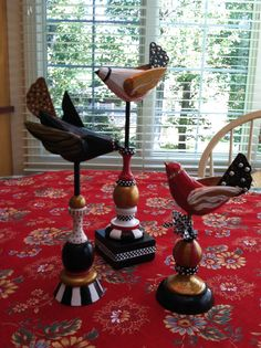 A MacKenzie Childs touch to some old wooden birds done with acrylic paints1