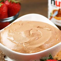 Nutella Cheesecake Dip - Cooking Classy Recipe Videos - Only FOUR ingredients and super easy to make! Not to mention perfectly rich and decadently and deli - Nutella Dip, No Bake Nutella Cheesecake, Cheesecake Dip, Cheesecake Recipes, Easy Desserts, Dessert Recipes, Skillet Chocolate Chip Cookie, Nutella Recipes, Clean Eating Snacks