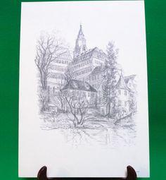 1977 Print Of Pen Sketch By Tübingen Artist Georg Salzmann, Alte Aula - $5.95