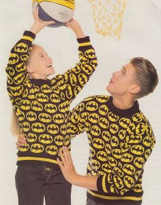 Vintage knitting pattern for Batman Sweater in adult and child sizes 24-46 inches. More Super Hero Knitting Patterns at http://intheloopknitting.com/super-hero-knitting-patterns/
