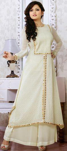 424668 White and Off White color family Bollywood Salwar Kameez in Georgette fabric with Machine Embroidery, Resham, Patch, Thread, Lace work. Stylish Dresses For Girls, Simple Dresses, Beautiful Dresses, Girls Dresses, Long Dresses, Pakistani Dresses, Indian Dresses, Indian Outfits, Ethnic Fashion