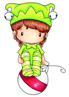 C.C. Designs - Cling Mounted Rubber Stamp - Swiss Pixie Elf Lucy,$6.99