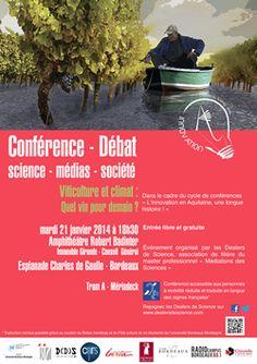 Conférence-débat Viticulture et climat : quel vin pour demain ?. Le mardi 21 janvier 2014 à Bordeaux.  18H30