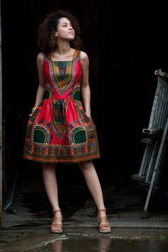 African dress Addis Abeba Coral by KOKOworld on Etsy African Maxi Dresses, African Dresses For Women, African Wear, African Attire, African Women, African Style, African Print Fashion, Africa Fashion, African Prints
