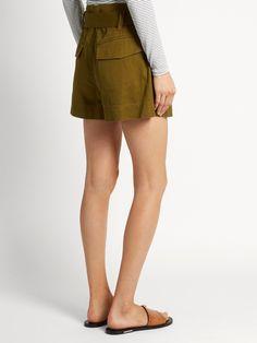 Isabel Marant Étoile Oscar tie-waist cotton shorts Breton Top, Work Shorts, Khaki Green, Green Cotton, Cotton Shorts, Parisian, Casual Shorts, Tie