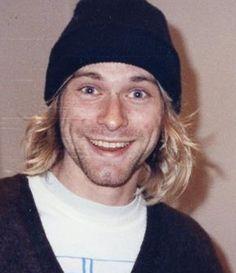 A very smiley Kurt Cobain of Nirvana