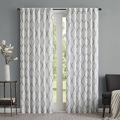 109'****The Regency Heights Lexi Rod Pocket Window Curtain Panel will fill your space with easy, graceful style. Featuring an all-over, large-scale embroidered quatrefoil design, the lined Lexi window panels add simple elegance to any room's décor.