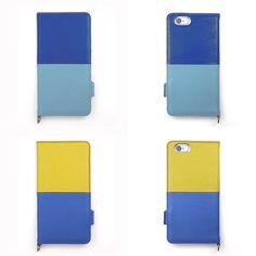 【 本革 + 日本製 】絵になるオトナの iPhoneケース   iPhone 6/6s & Plus 対応   Genuine Leather Wallet Case for iPhone 6 / 6s and iPhone 6 / 6s Plus.  Azur x Turquoise or Jaune x Azur.