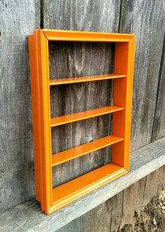 Orange Wood Shelf Hanging Shelves Shadow Box Nail polish rack Spice Rack Knick Knack Display Painted Housewares Vintage Furniture Bathroom & Wood Shelf Small Storage Box Rustic Shelves Vertical | Man Cave ...